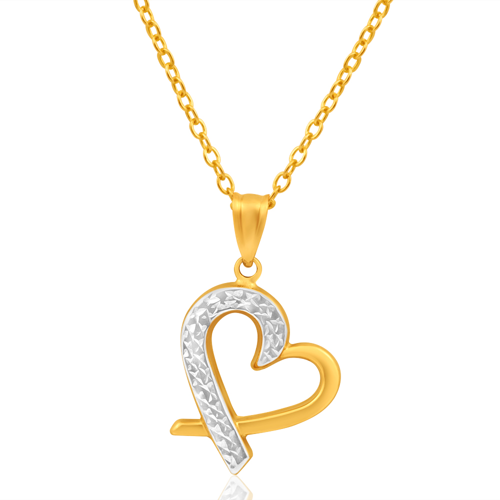 9ct Yellow Gold & White Gold Lovely Pendant