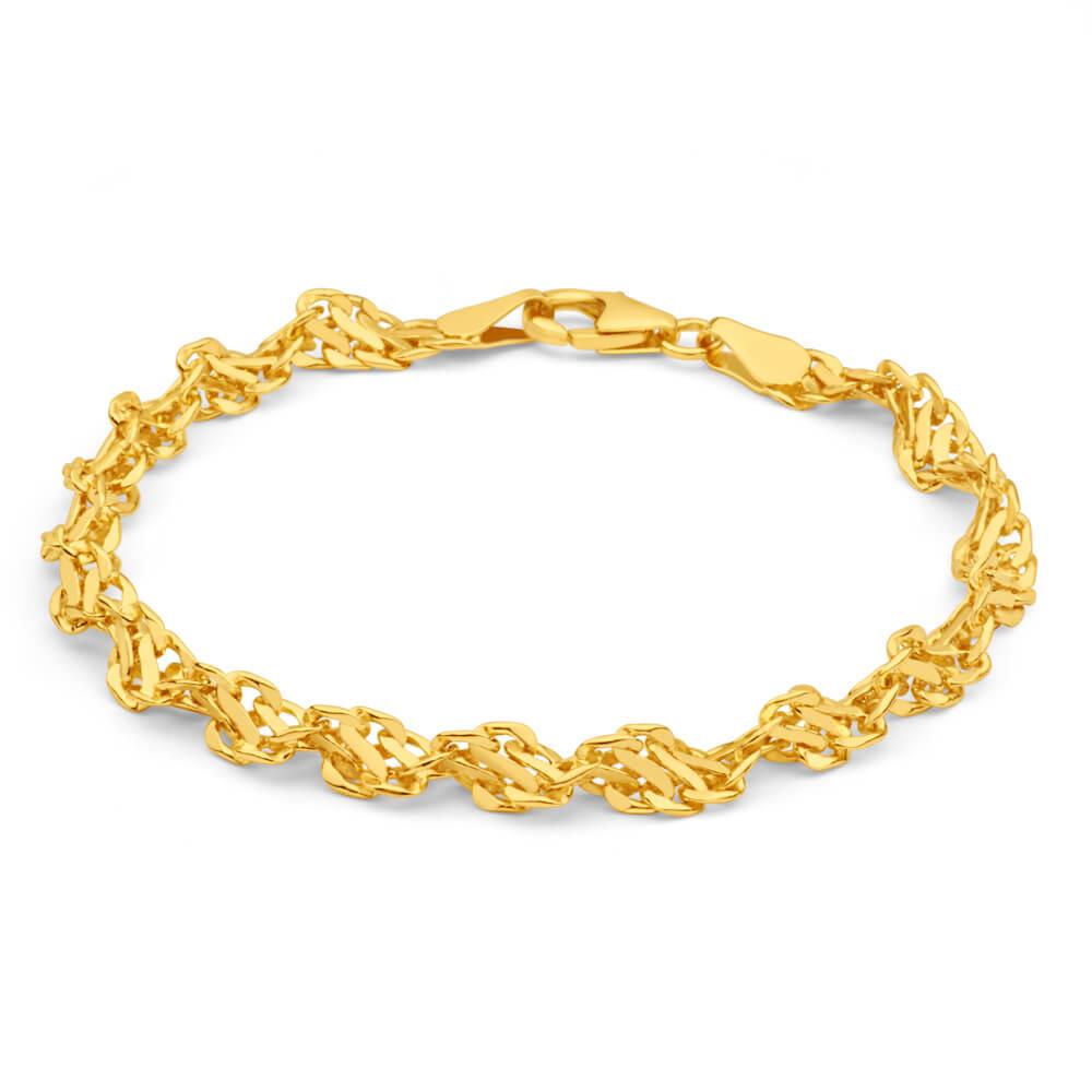9ct Yellow Gold Copper Filled 19cm Singapore Bracelet 70Gauge