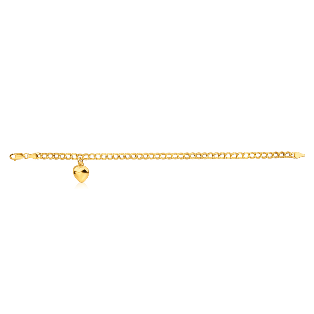 9ct Yellow Gold Silver Filled Double Heart Drop 19cm Curb Bracelet Nala