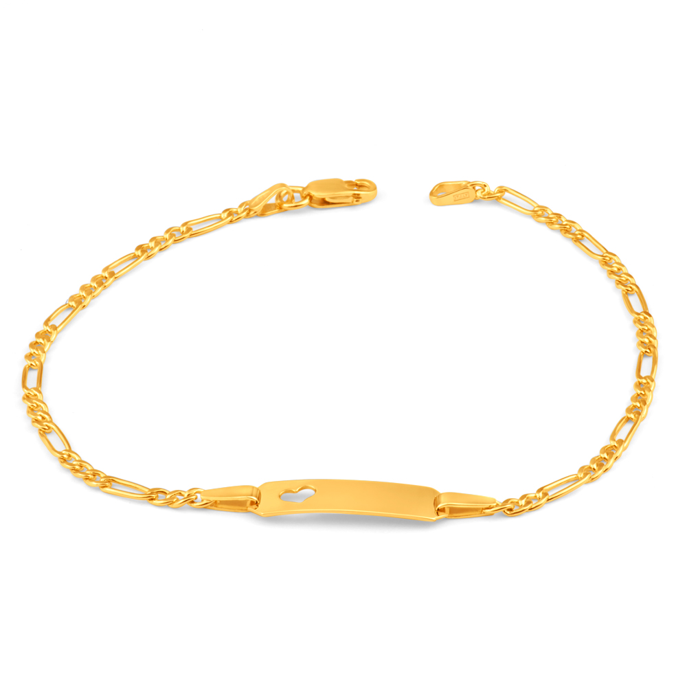 9ct Yellow Gold Silver Filled Heart 19cm Figaro Bracelet