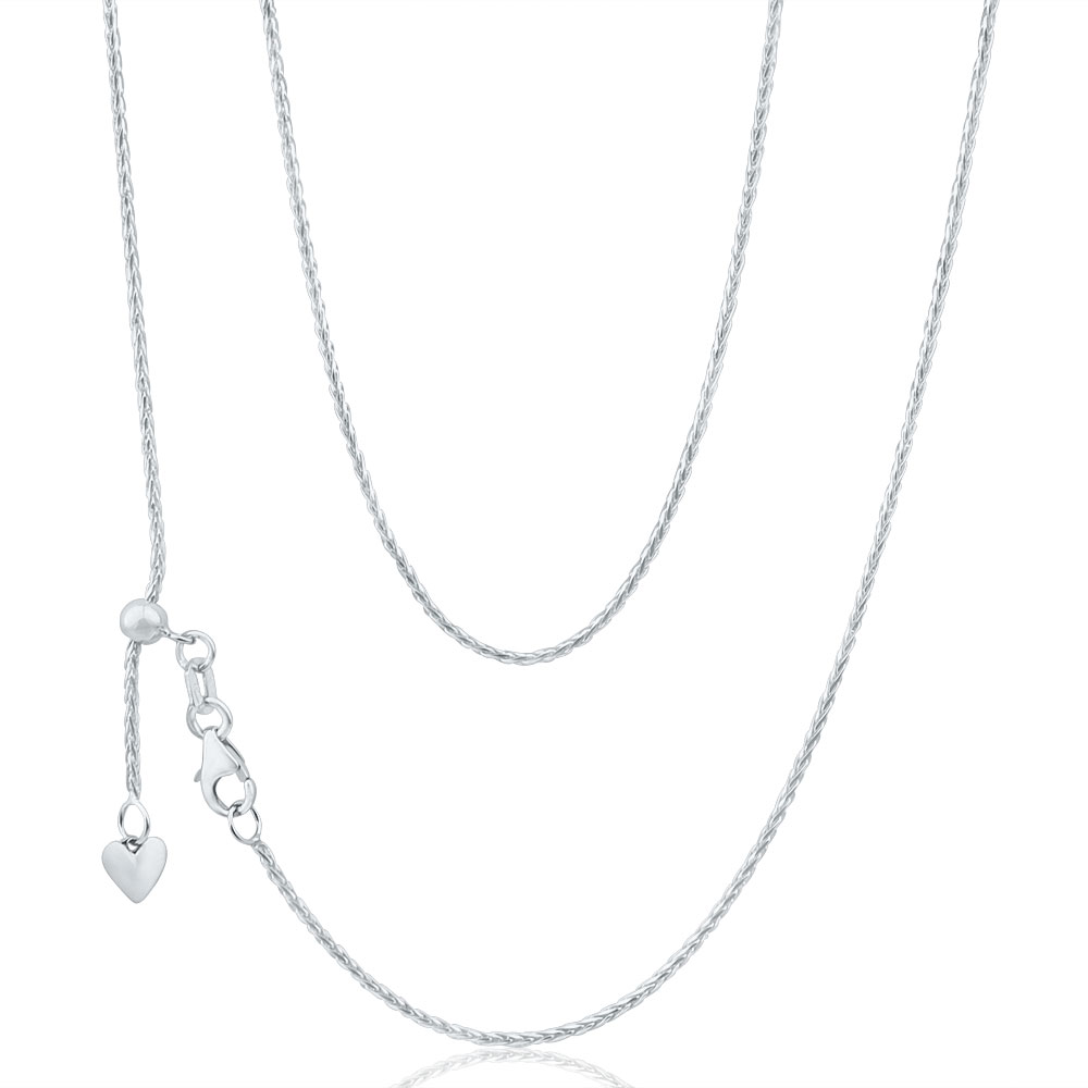 9ct Alluring White Gold Wheat Chain