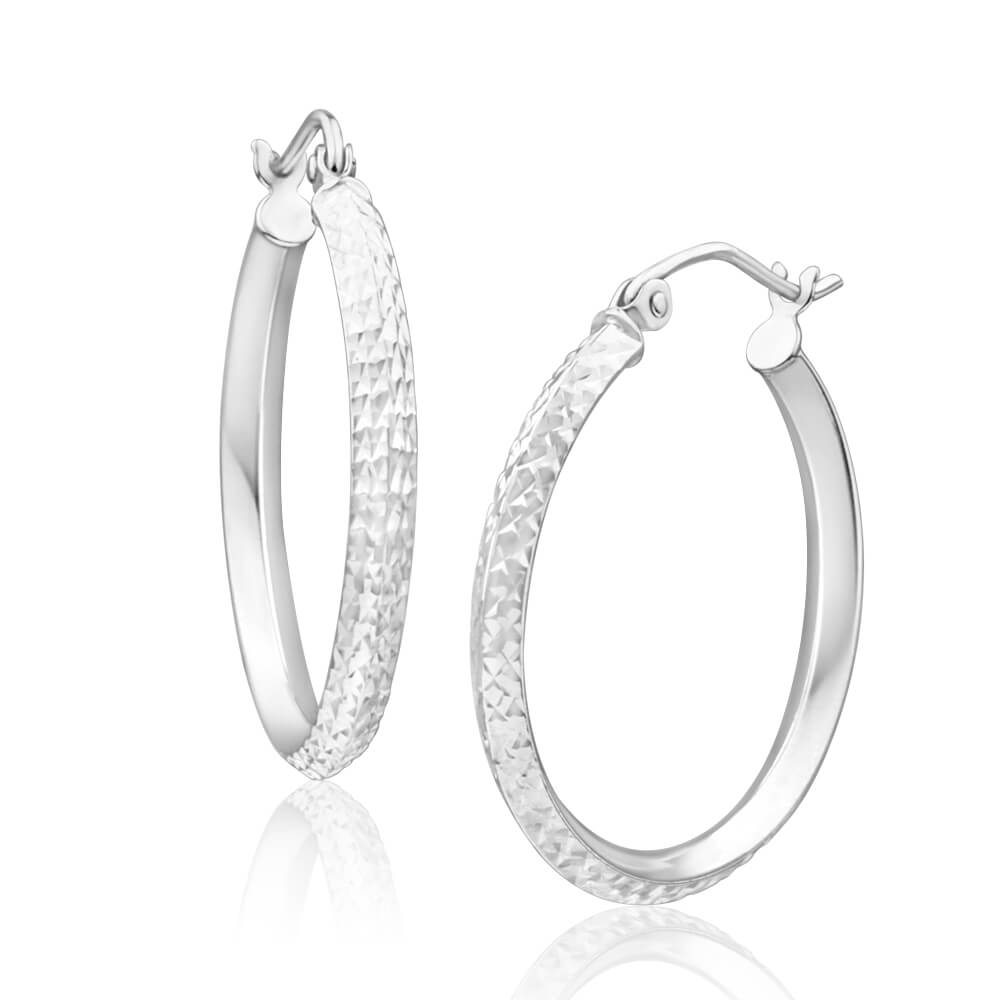 9ct Charming White Gold 20mm Hoop Earrings