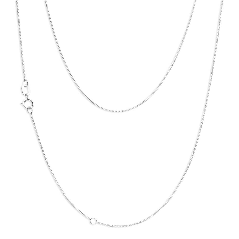 9ct White Gold 45cm Box Chain With Extender