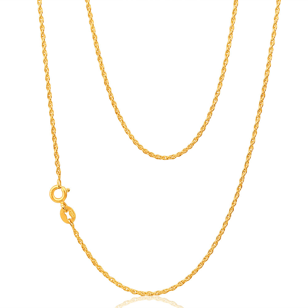 9ct Yellow Gold Silver Filled Singapore 50cm Chain 25 Gauge