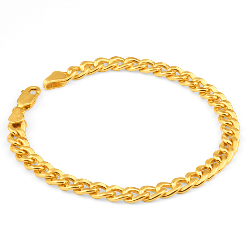 9ct Yellow Gold Copperfilled 19cm Curb Bracelet 150Gauge