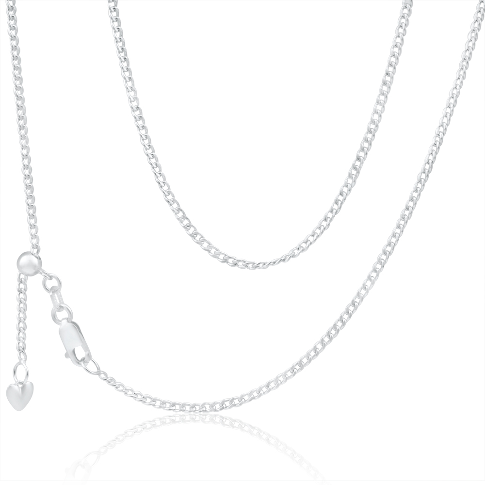 9ct Charming White Gold Silver Filled Curb Chain