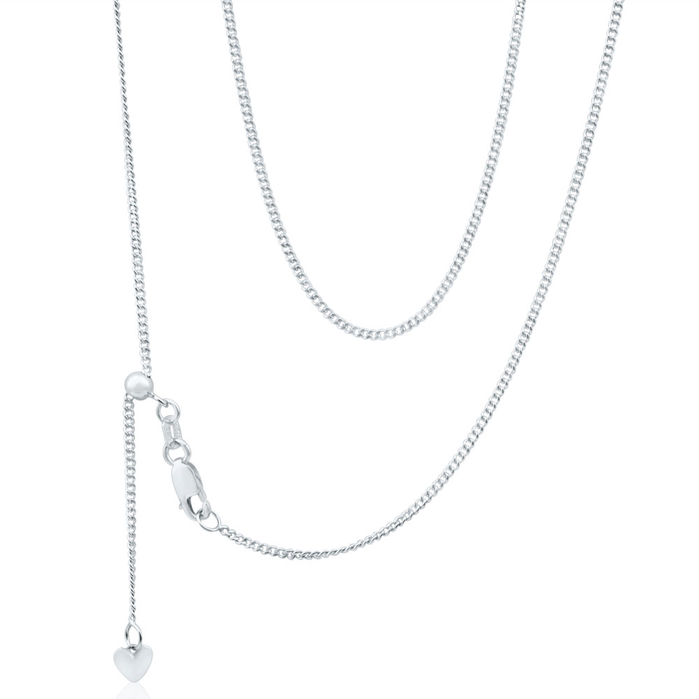 9ct Gorgeous White Gold Silver Filled Curb Chain