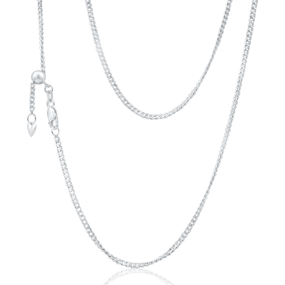 9ct White Gold Silver Filled Curb Chain