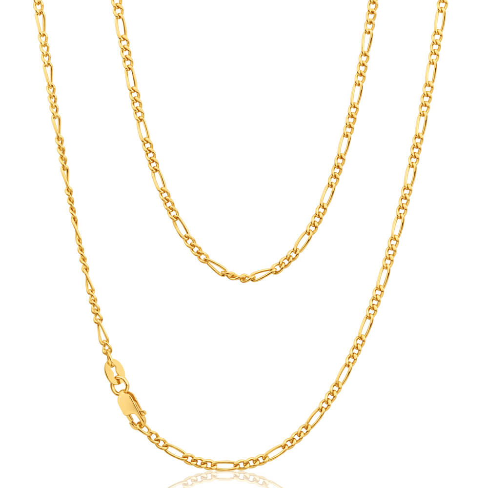 9ct Yellow Gold Silver Filled 45cm Figaro Chain 60 Gauge