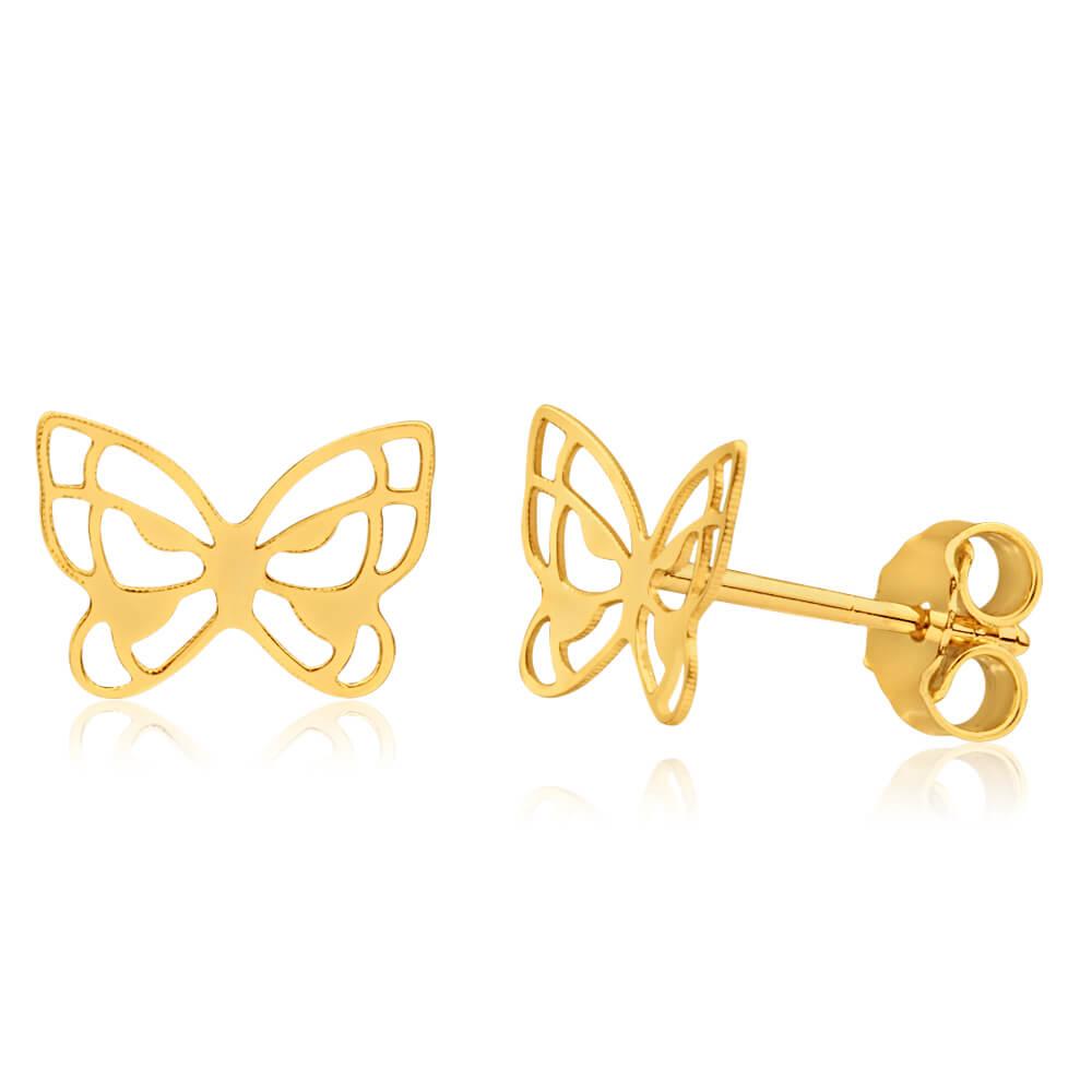 9ct Yellow Gold Filigree Butterfly Stud Earrings