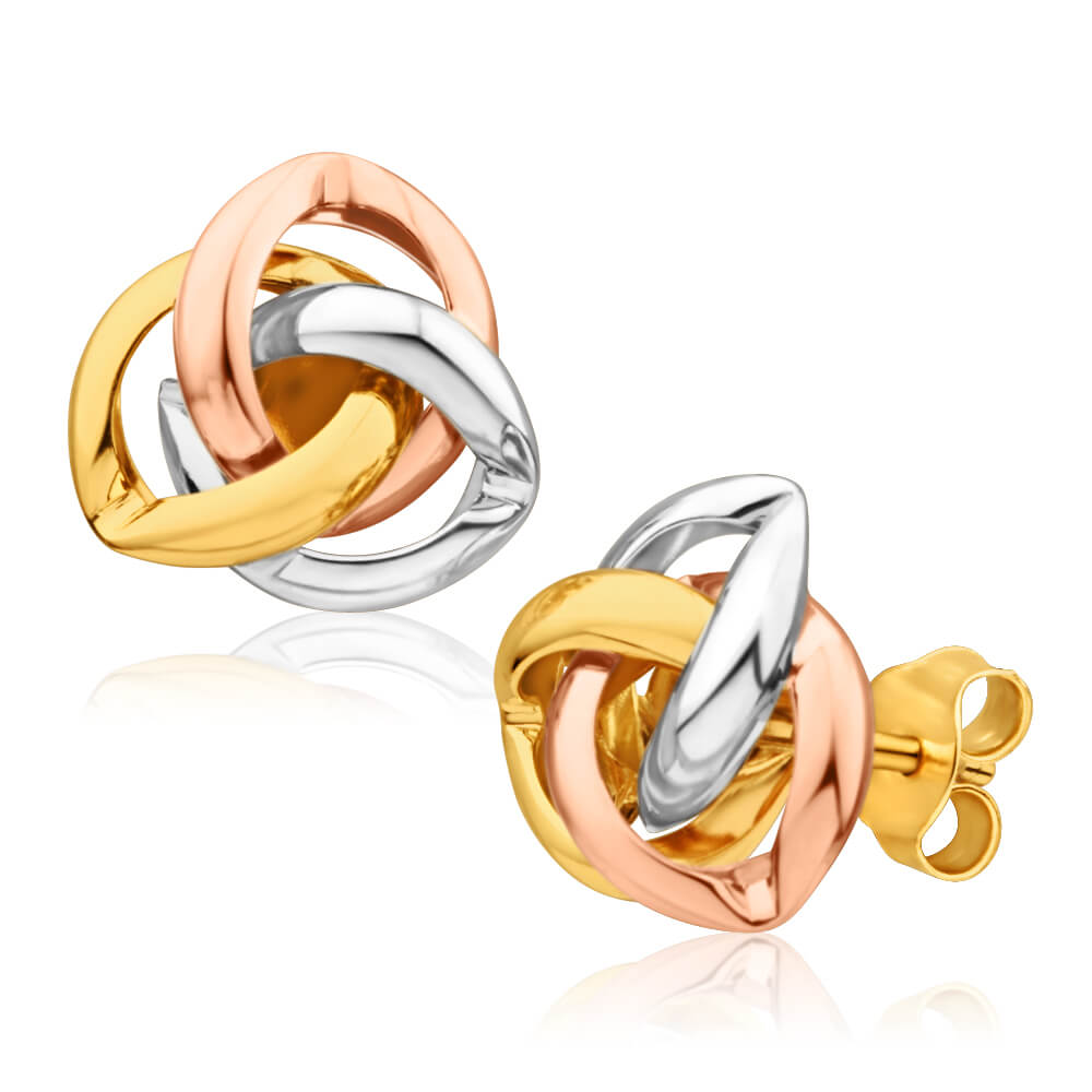 9ct Yellow Gold, White Gold & Rose Gold Knot Stud Earrings