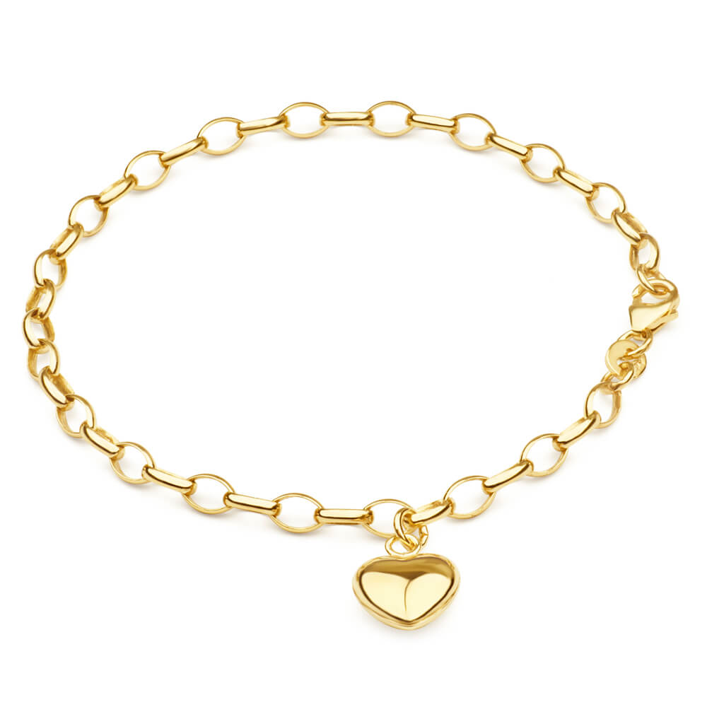 9ct Yellow Gold Silverfilled Heart Charm Belcher 19cm Bracelet