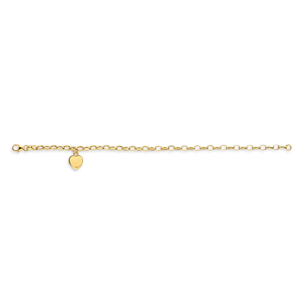 9ct Yellow Gold Silverfilled Heart Charm Belcher 19cm Bracelet