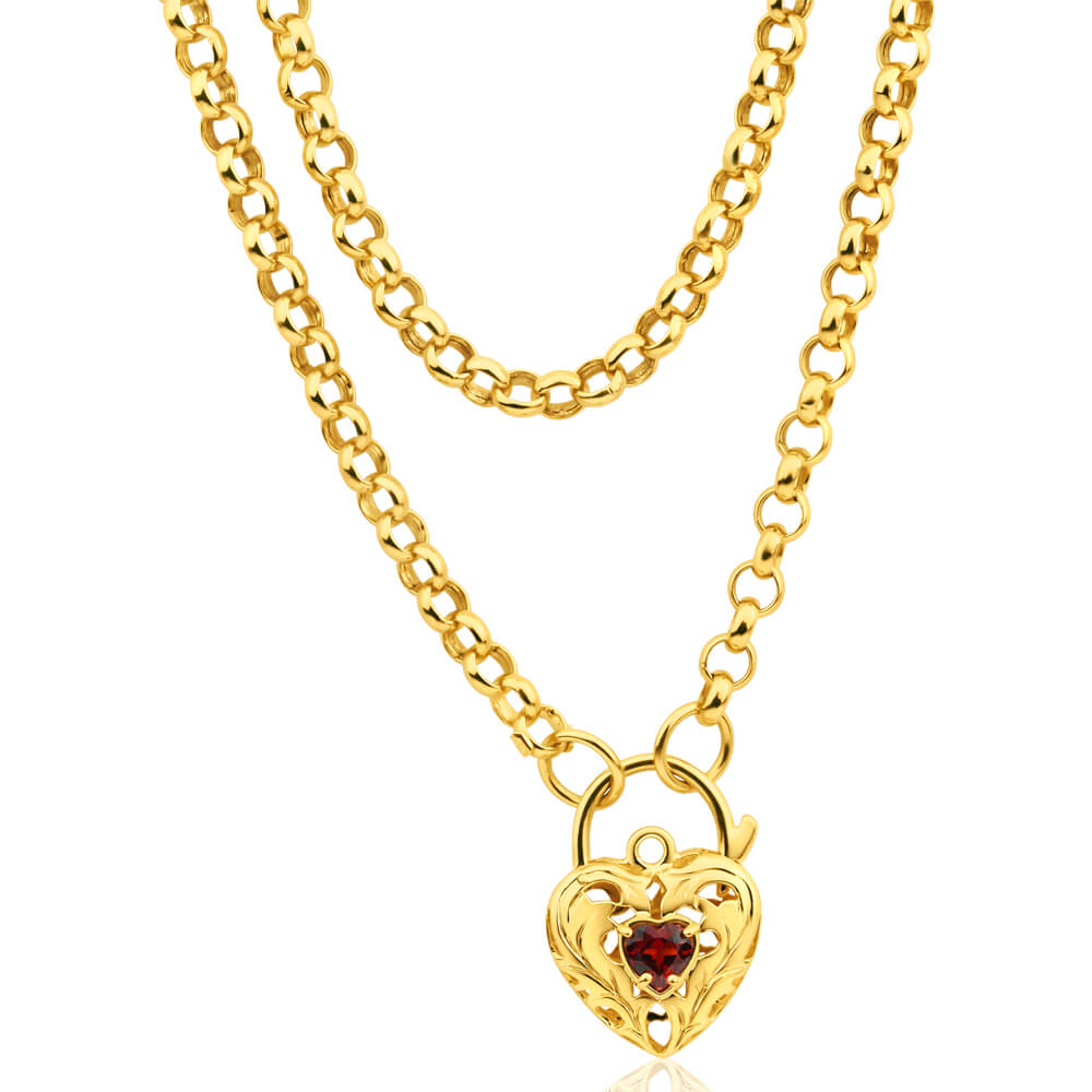 9ct Yellow Gold Silver Filled Garnet Belcher Chain