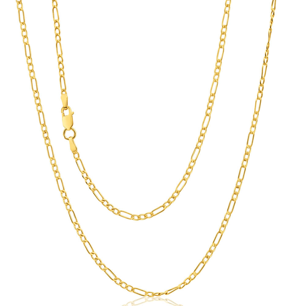 9ct Yellow Gold Silver Filled 45cm Figaro Chain 50 Gauge
