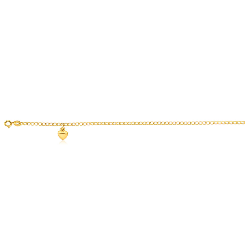 9ct Yellow Gold Silver Filled Heart Drop 27cm Curb Anklet