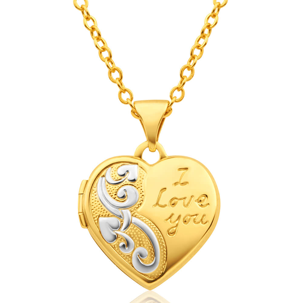9ct Yellow Gold Heart Shaped Locket with 'I love You' Engraving