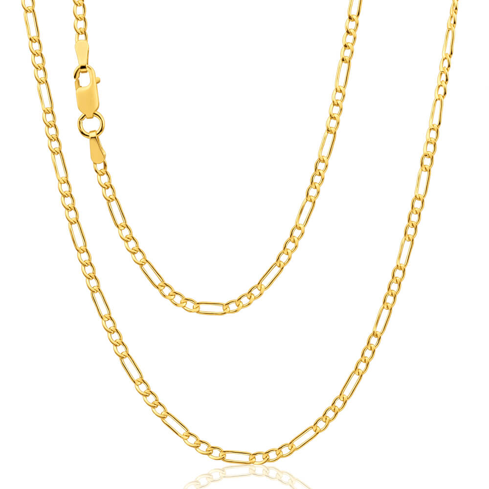 9ct Yellow Gold Silver Filled 50cm Figaro Chain 50 Gauge
