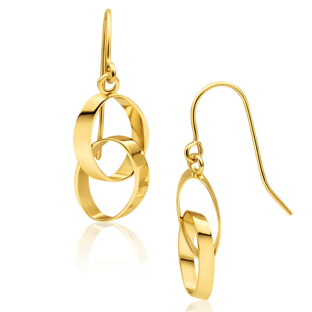9ct Yellow Gold Double Linked Circle Drop Earrings