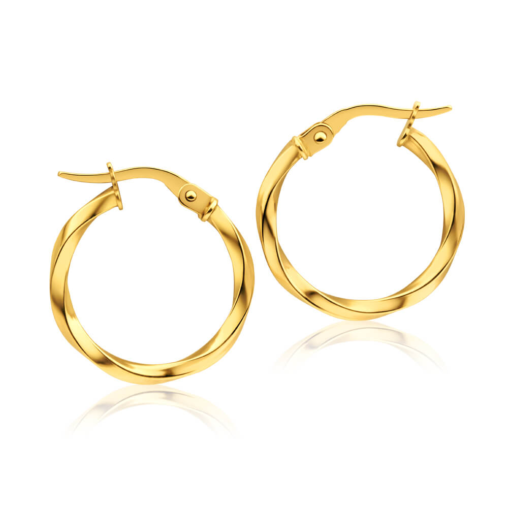 9ct Yellow Gold 15mm Italian Made Twist Hoop Earrings