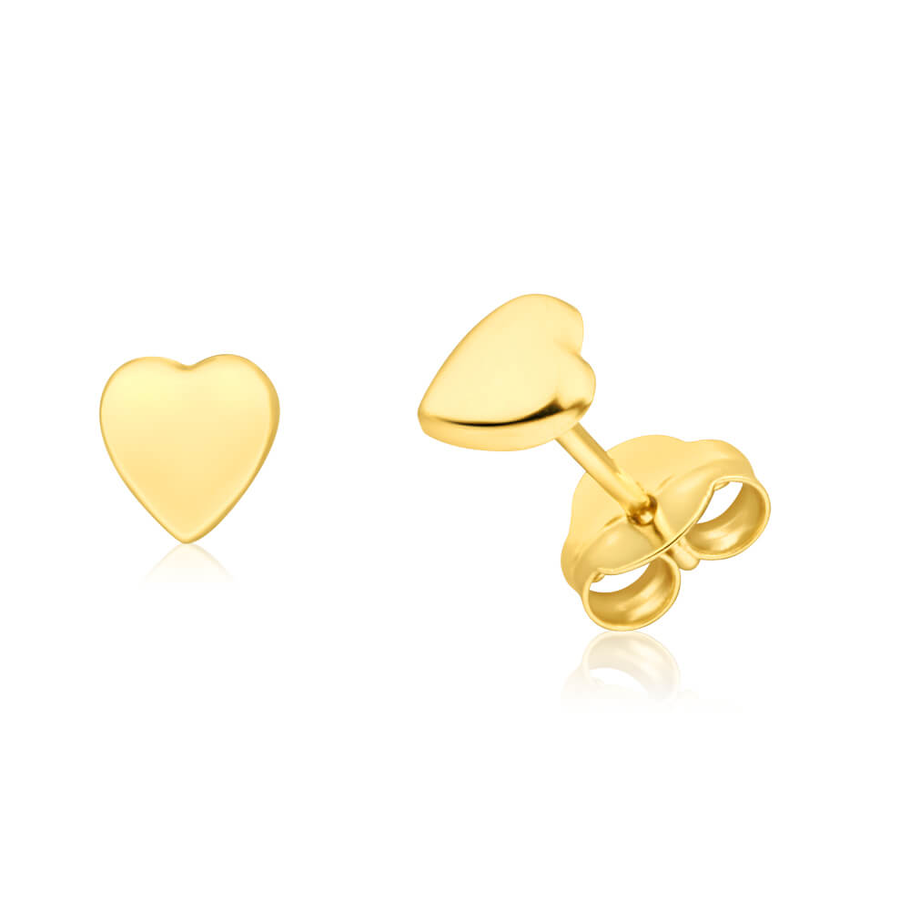 9ct Yellow Gold Plain Heart Stud Earrings