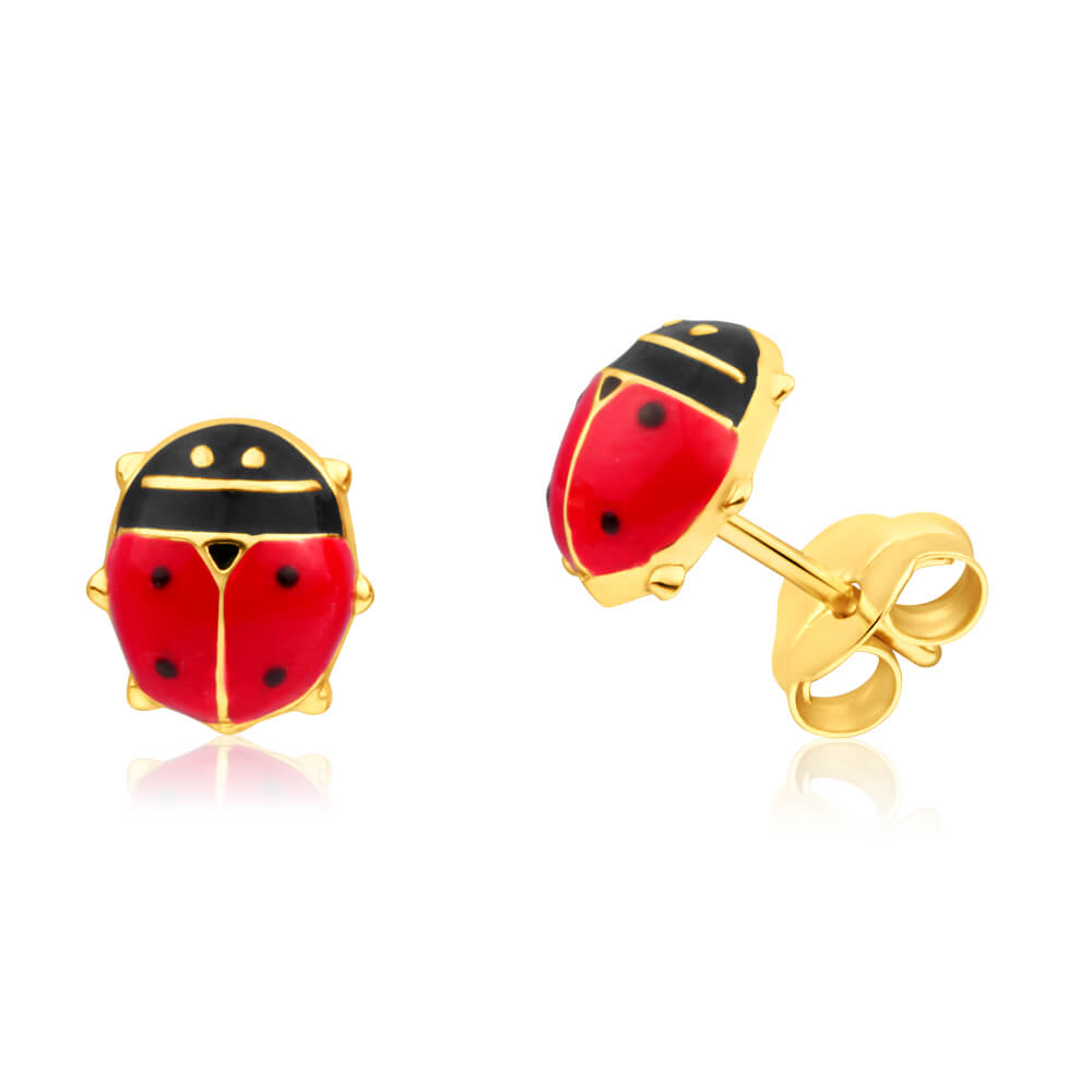 9ct Yellow Gold Lucky Ladybird Stud Earrings