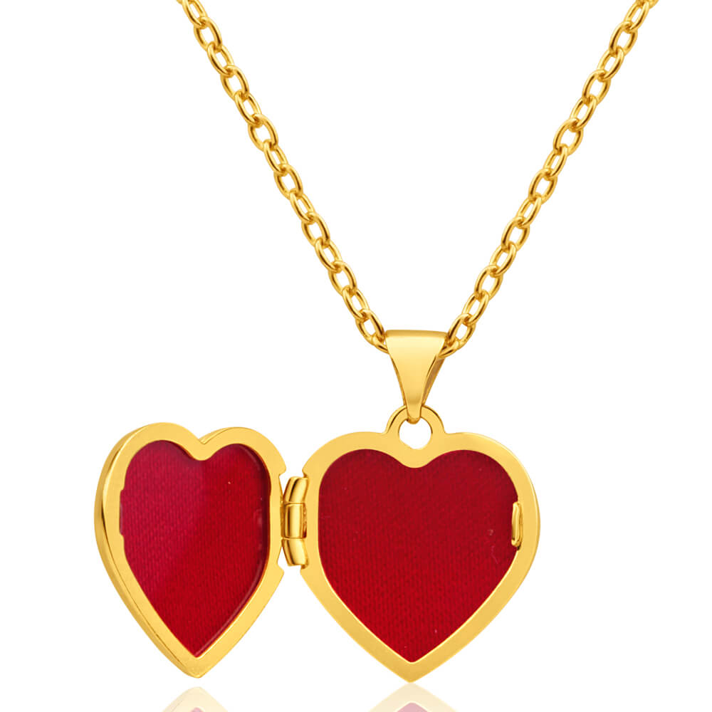 9ct Yellow Gold Heart Shaped Locket with 'Special Mum' and Flower Pattern