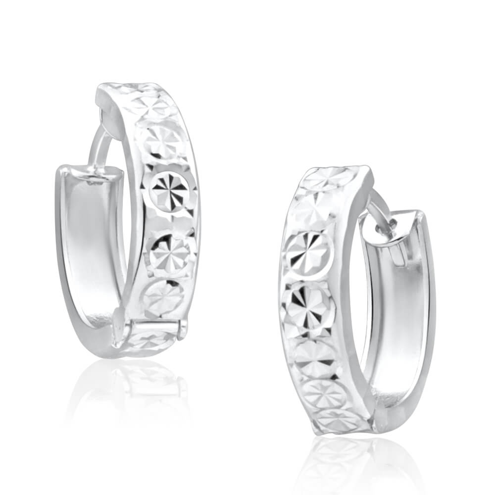9ct White Gold 10mm Huggie Hoop Earrings with diamond cutting features