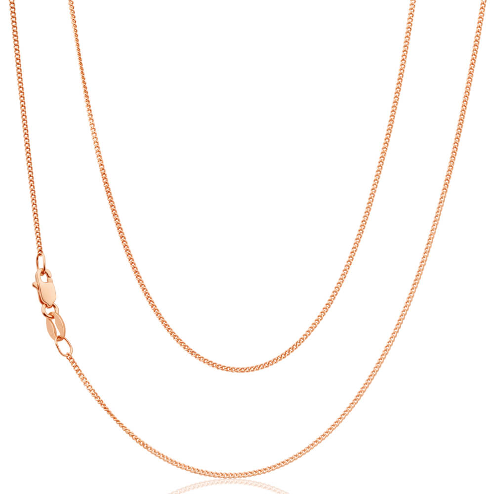 9ct SOLID Rose Gold Diamond Cut 45cm 30 Gauge Curb Chain