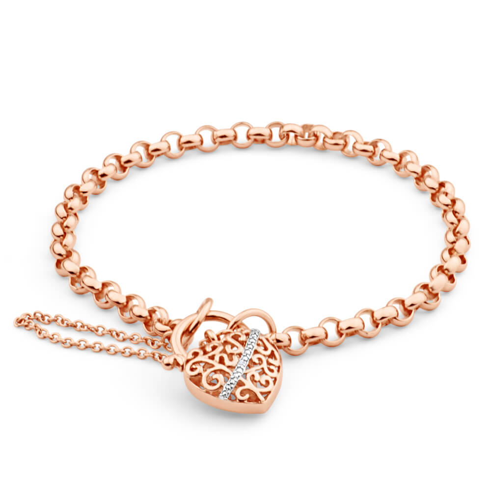 9ct Rose Gold Fancy Padlock Belcher Bracelet