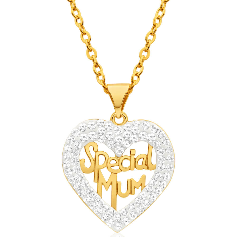 9ct Yellow Gold Crystal Pendant