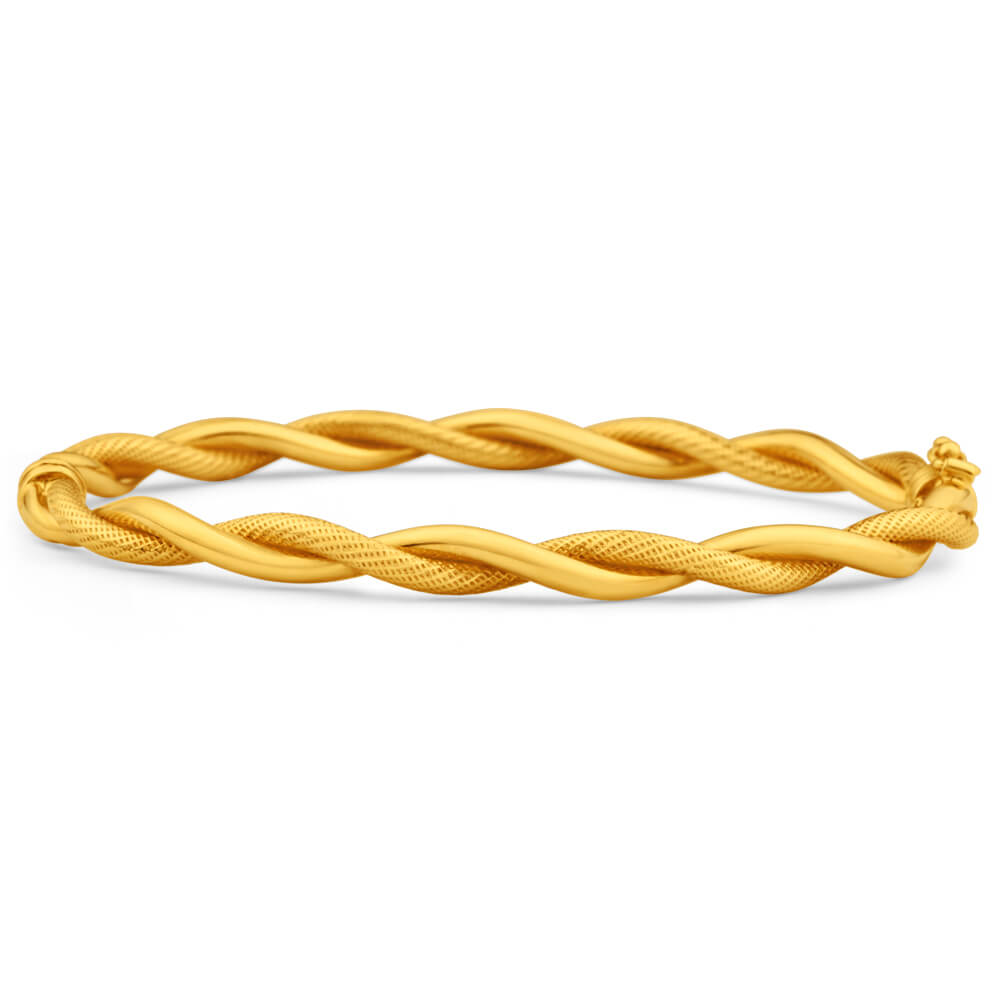 9ct Yellow Gold Twist Oval Bangle