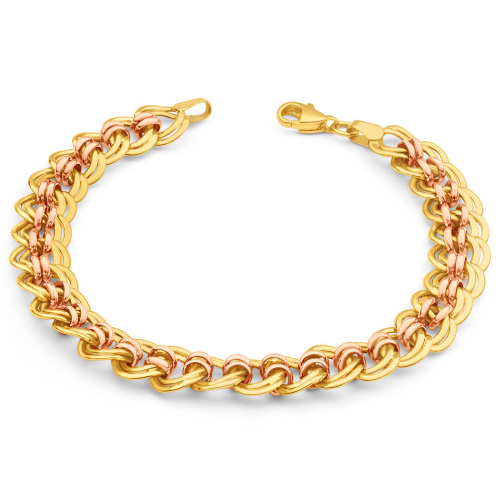 9ct Yellow Gold & Rose Gold Curb Bracelet