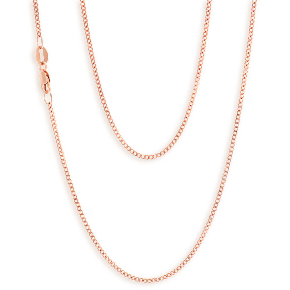 9ct Rose Gold Diamond Cut 45cm 40 Gauge Curb Chain