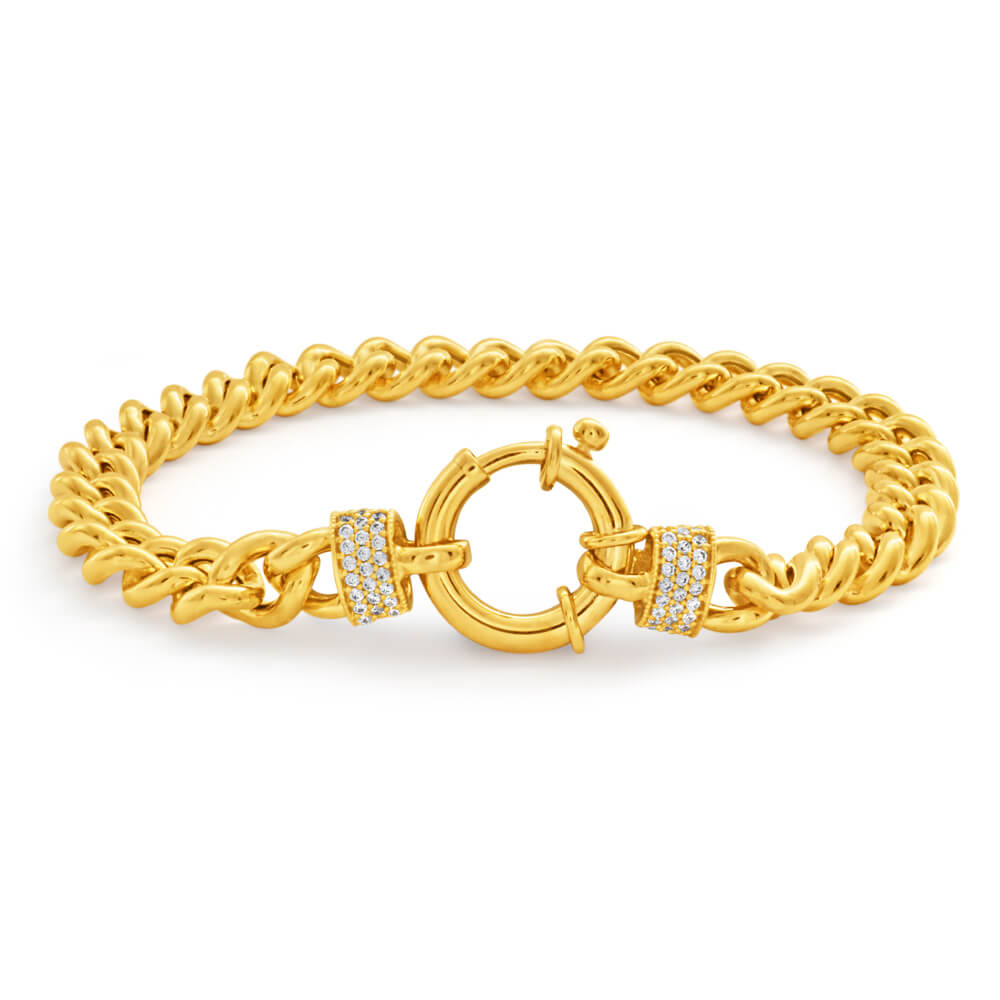 9ct Yellow Gold Zirconia Curb Bracelet