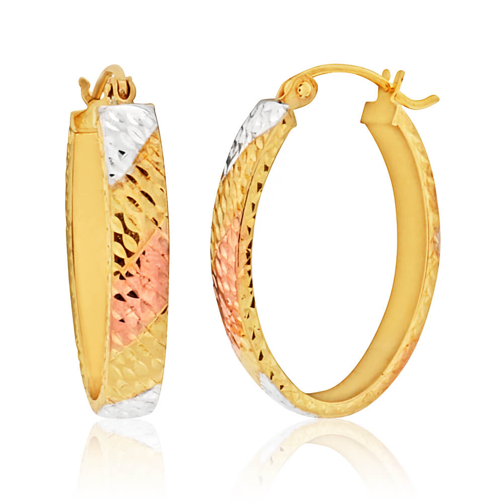 9ct Yellow Gold, White Gold & Rose Gold Oval Hoop Earrings