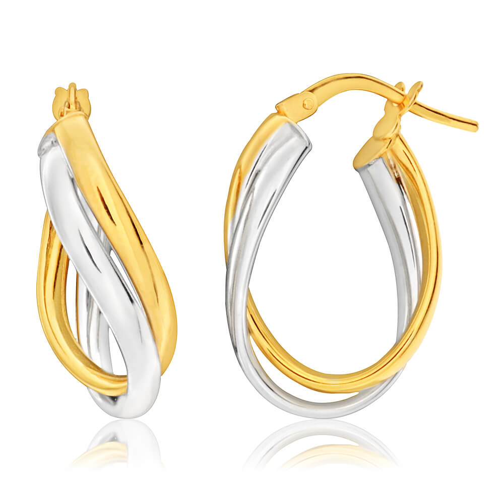 9ct Yellow Gold & White Gold Opulent Hoop Earrings