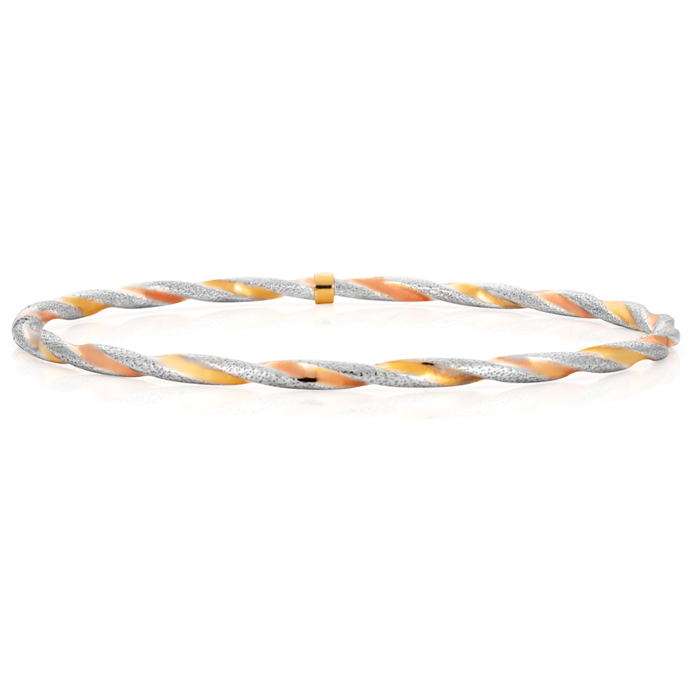 9ct Yellow Gold, White Gold & Rose Gold Twist Bangle