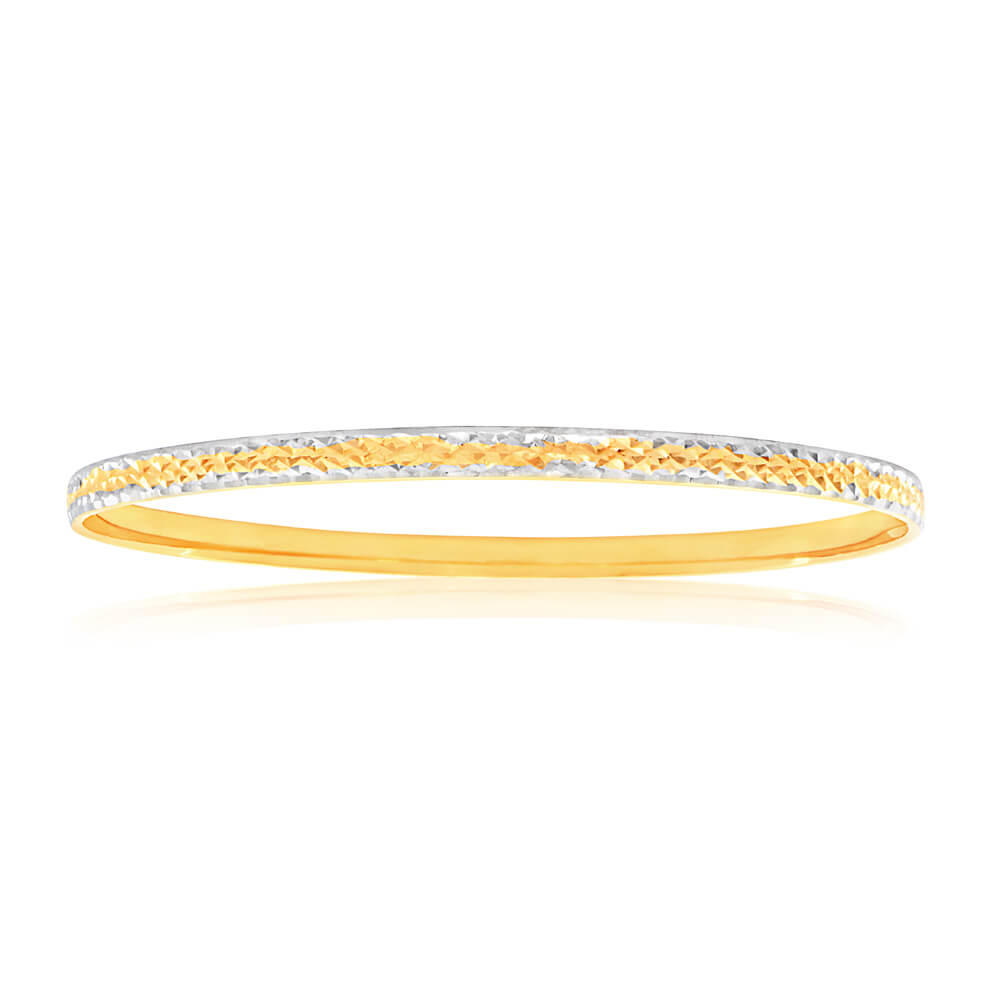 9ct Yellow Gold & Rhodium Gold Bangle with diamond cutting