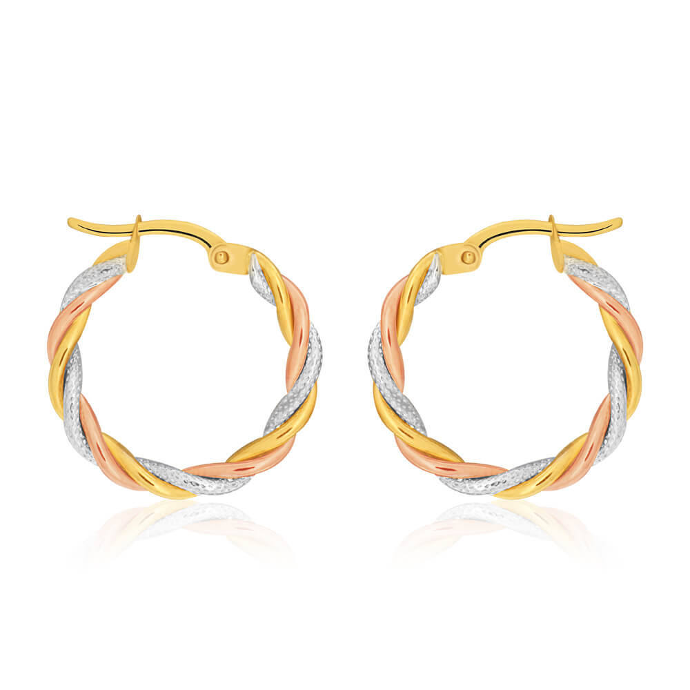 9ct Yellow, Rose & White Gold Hoop Earrings 3 tube twist