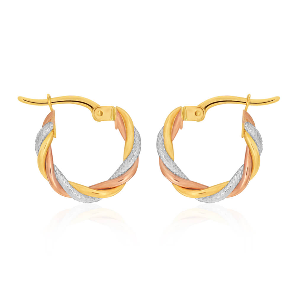 9ct Yellow Gold, White Gold & Rose Gold Twist 10mm Hoop Earrings