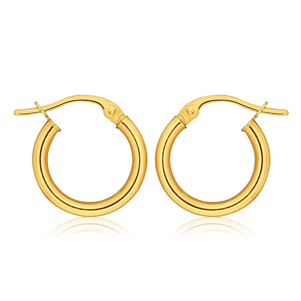 9ct Yellow Gold Plain Hoop 10mm European made