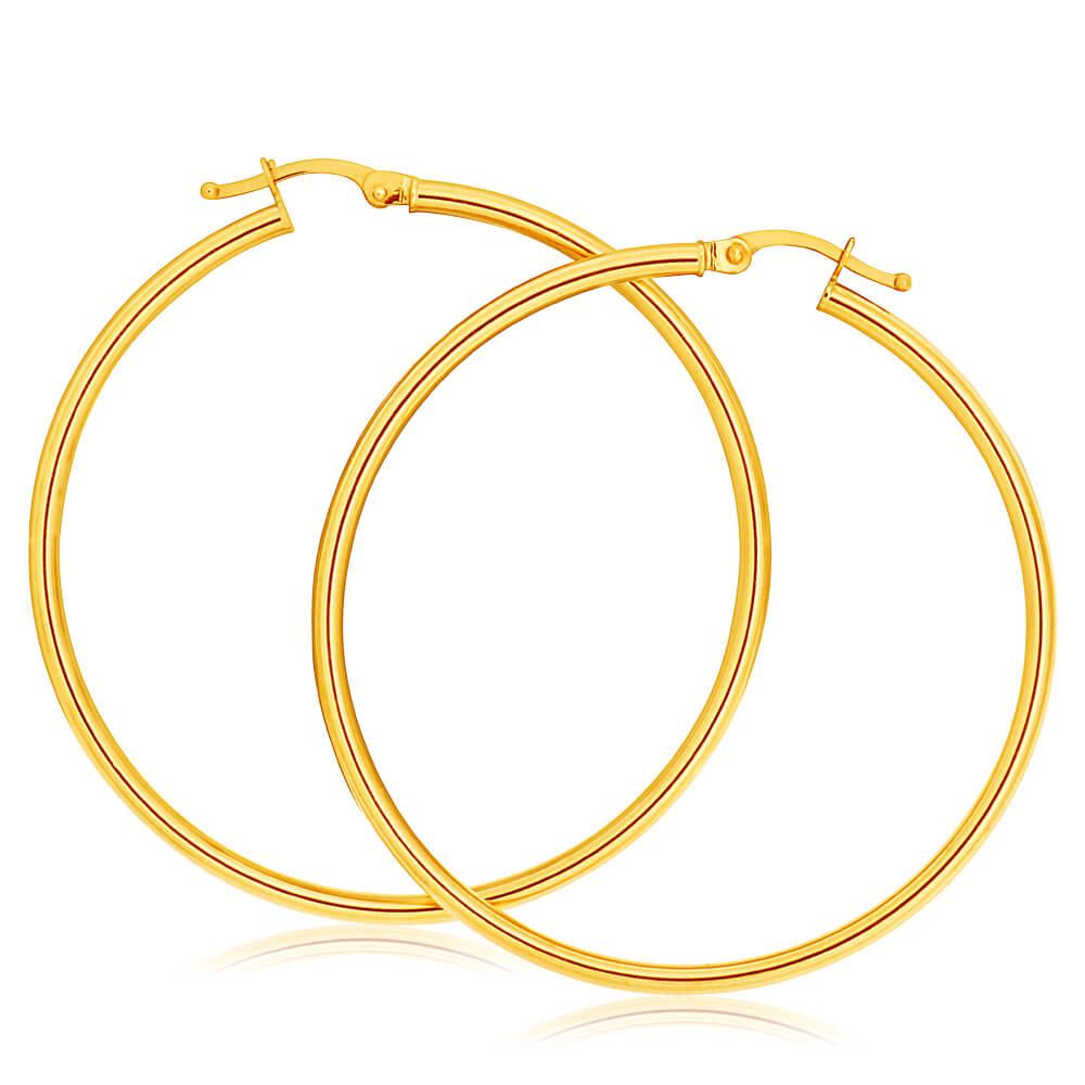 9ct Yellow Gold Plain Hoop 40mm European made