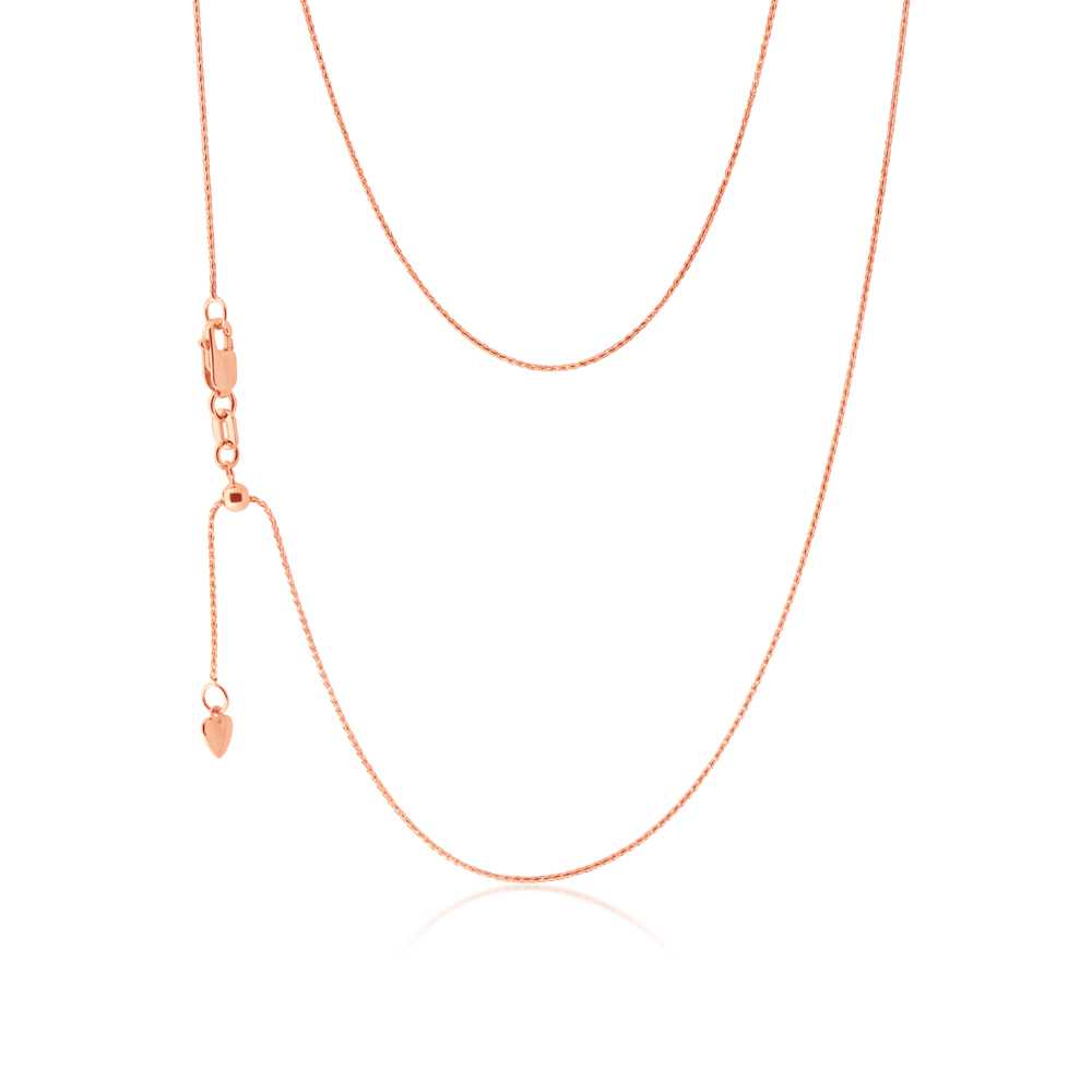 9ct Rose Gold Wheat link Extender 47cm Chain 20gauge