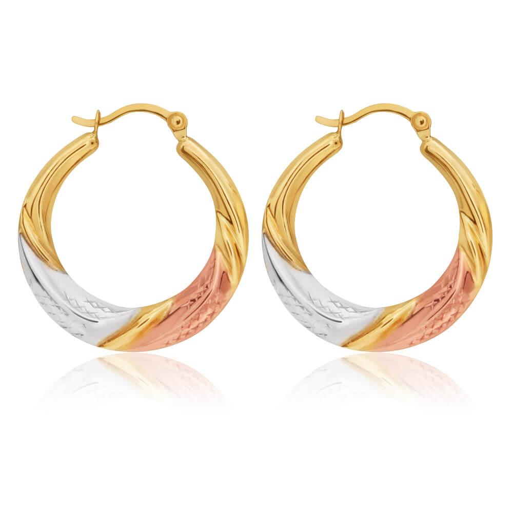 9ct Three tone twist Earrings