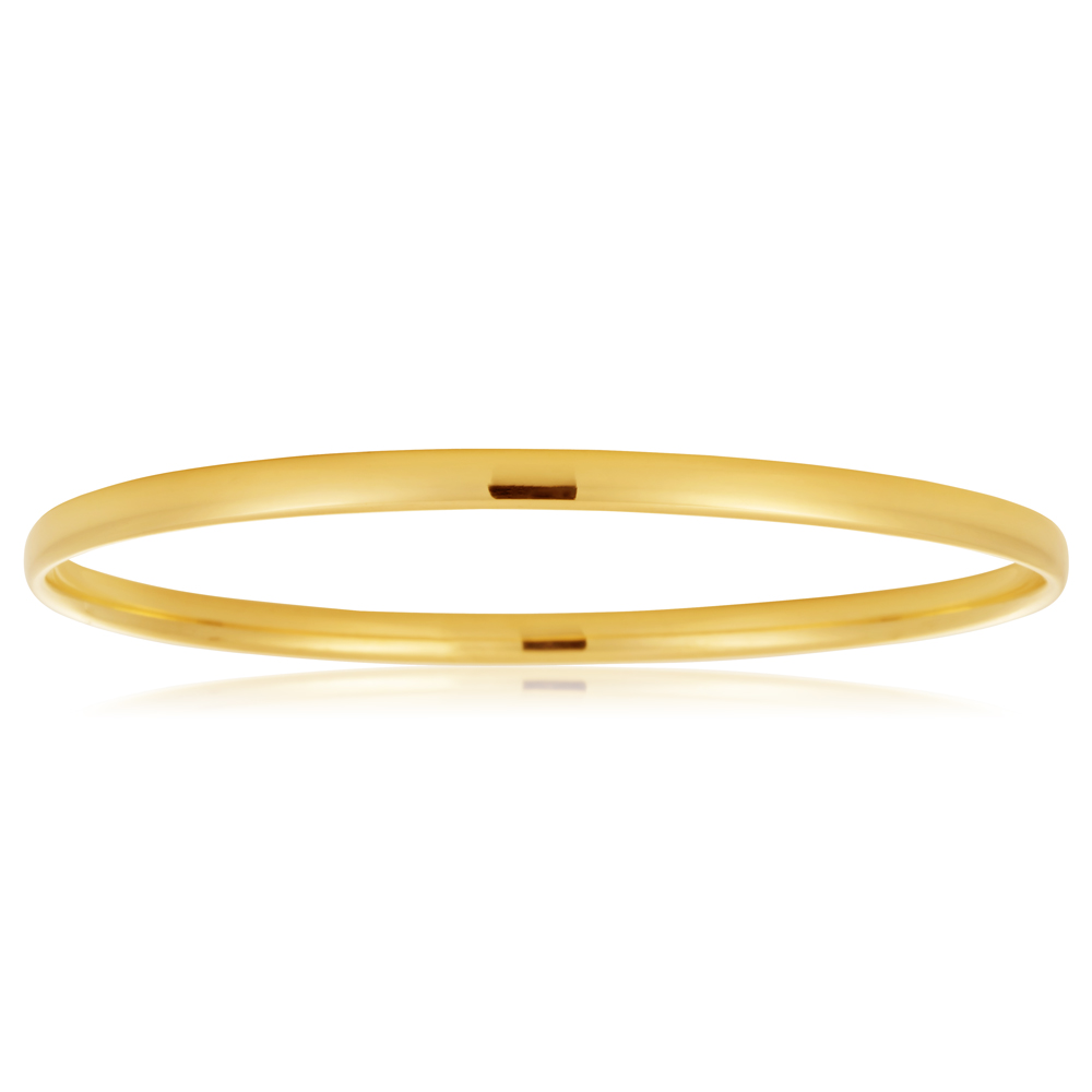 9ct Yellow Gold 4mm x 65mm Bangle