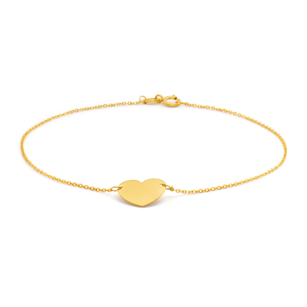 9ct Yellow Gold Plain Flat Heart Charm on 18cm Bracelet