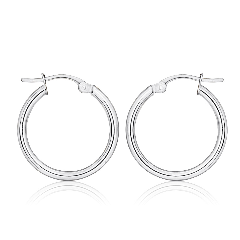 9ct White Gold Plain 15mm Hoops