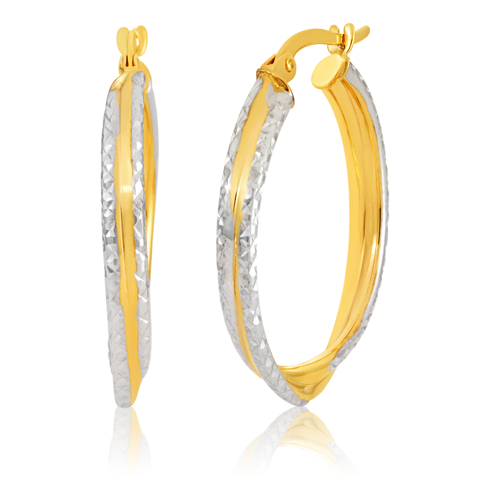 9ct White and Yellow Gold  double Twsited 20MM Hoops dicut feature