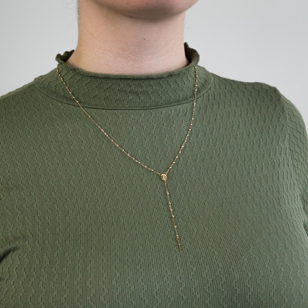 9ct Yellow Gold Rosary Madona & Cross 50cm